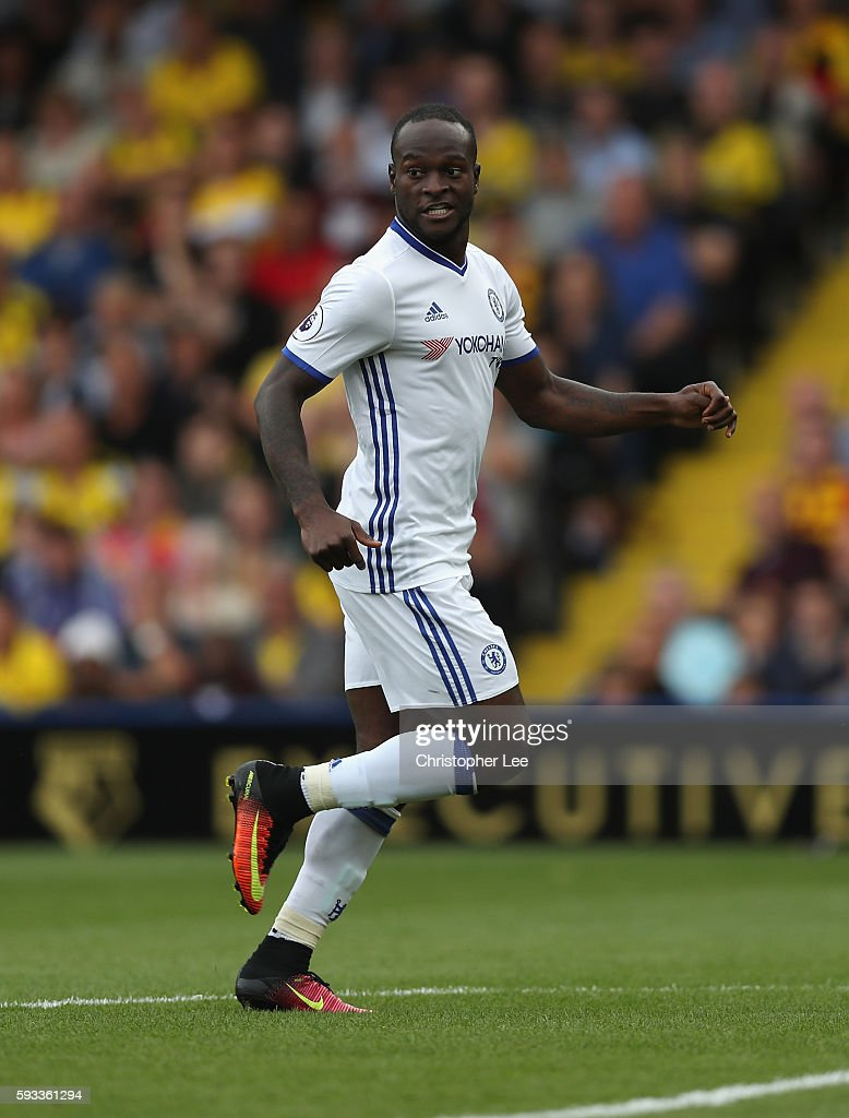 Victor Moses of Chelsea in action during the Premier League match between Watford and Chelsea at Vicarage Road on August 20 2016 in Watford England