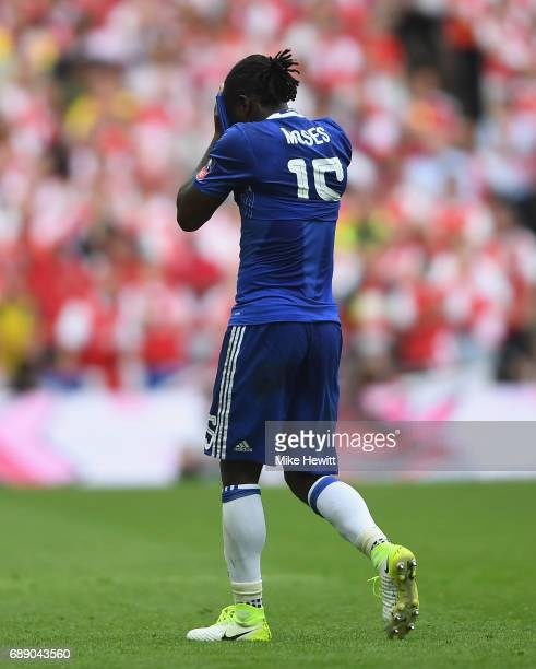 Victor Moses of Chelsea reacts after being sent off during the Emirates FA Cup Final between Arsenal and Chelsea at Wembley Stadium on May 27 2017 in...