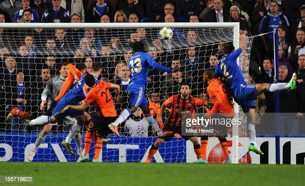 Victor Moses of Chelsea scores his goal during the UEFA Champions League Group E match between Chelsea and Shakhtar Donetsk at Stamford Bridge on...