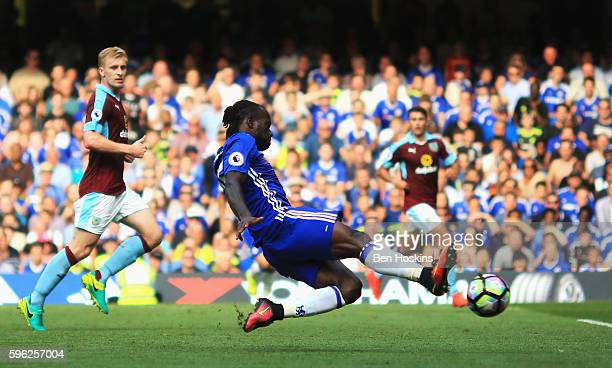 Victor Moses of Chelsea scores his sides third goal during the Premier League match between Chelsea and Burnley at Stamford Bridge on August 27 2016...