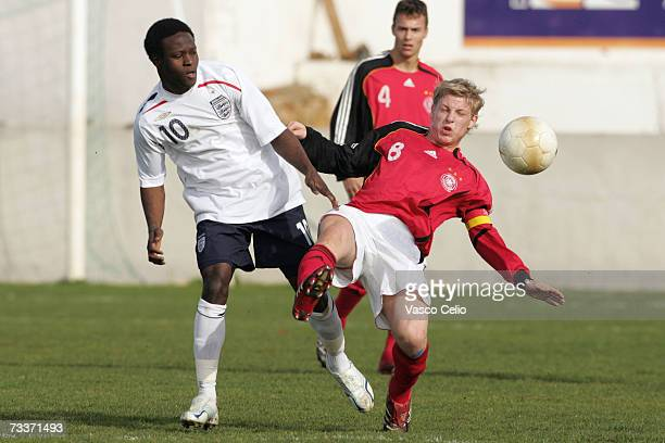 Victor Moses of England vies for the ball with Patrick Funk of Germany during the Men's U17 international Tournament match between Englad and Germany...