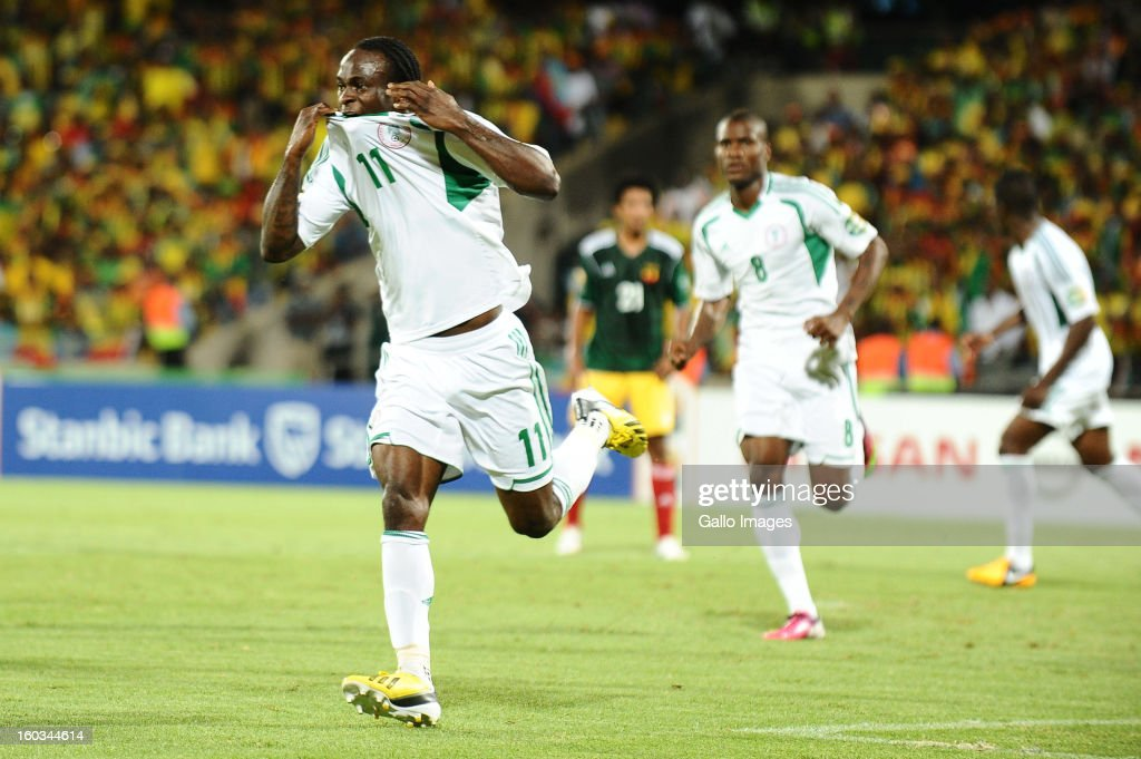 <a gi-track='captionPersonalityLinkClicked' href=/galleries/search?phrase=Victor+Moses&family=editorial&specificpeople=2649383 ng-click='$event.stopPropagation()'>Victor Moses</a> of Nigeria celebrates scoring his second goal during the 2013 African Cup of Nations match between Ethiopia and Nigeria at Royal Bafokeng Stadium on January 29, 2013 in Rustenburg, South Africa.