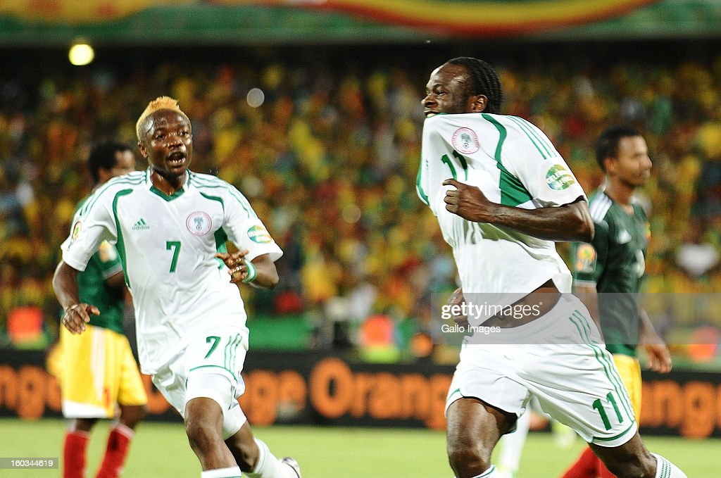Victor Moses of Nigeria celebrates scoring his second goal during the 2013 African Cup of Nations match between Ethiopia and Nigeria at Royal Bafokeng Stadium on January 29, 2013 in Rustenburg, South Africa.