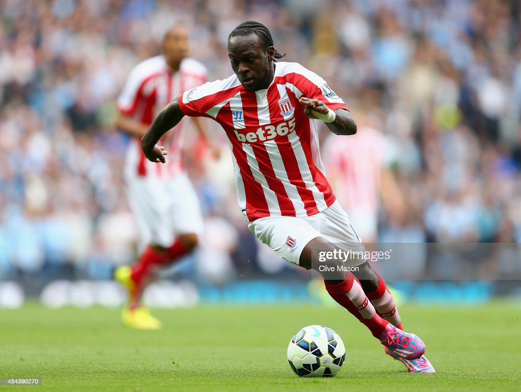 Victor Moses of Stoke City in action during the Barclays Premier League match between Manchester United and Stoke City at Etihad Stadium on August 30...