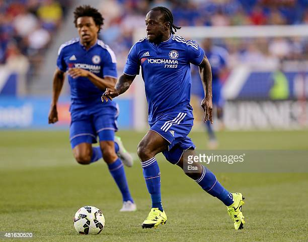 Victor Moses of the Chelsea takes the ball in the first half against the New York Red Bulls during the International Champions Cup at Red Bull Arena...
