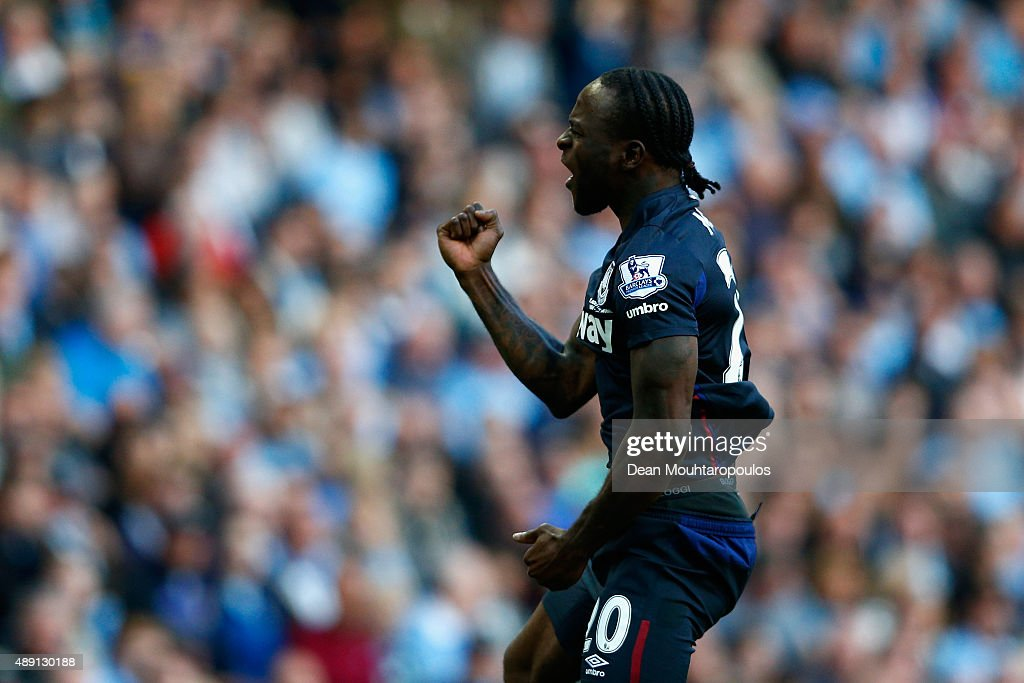Victor Moses of West Ham United celebrates scoring the opening goal during the Barclays Premier League match between Manchester City and West Ham...
