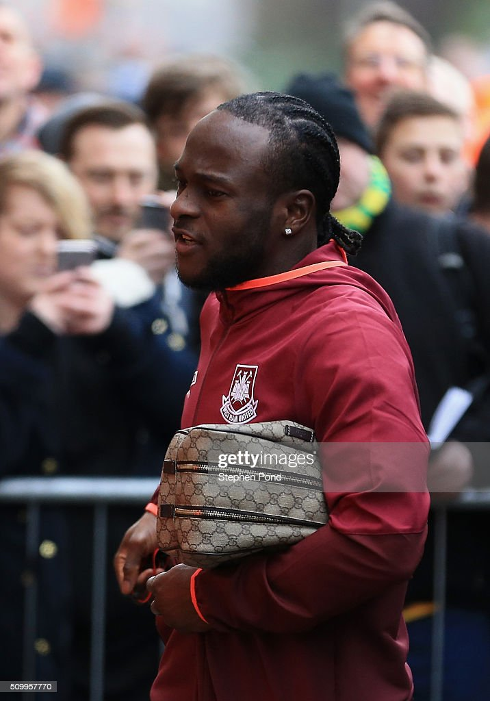 <a gi-track='captionPersonalityLinkClicked' href=/galleries/search?phrase=Victor+Moses&family=editorial&specificpeople=2649383 ng-click='$event.stopPropagation()'>Victor Moses</a> of West Ham United is seen on arrival at the stadium prior to the Barclays Premier League match between Norwich City and West Ham United at Carrow Road on February 13, 2016 in Norwich, England.