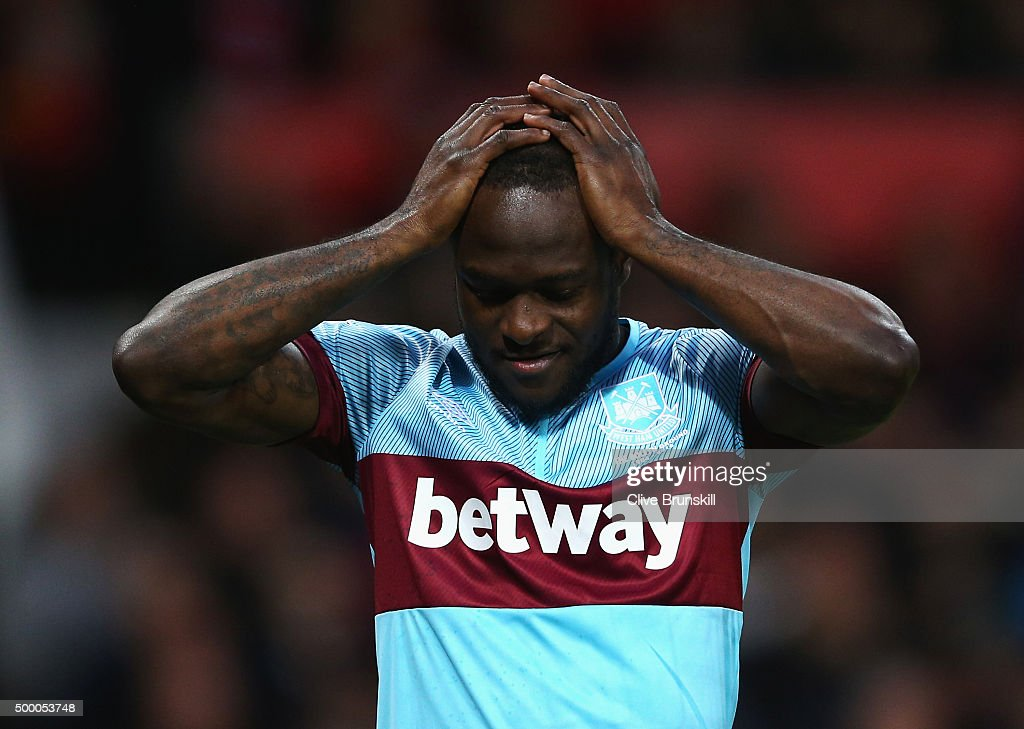Victor Moses of West Ham United reacts during the Barclays Premier League match between Manchester United and West Ham United at Old Trafford on...