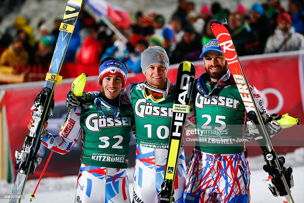Victor Muffat Jeandet of France takes 2nd place, Alexis Pinturault of France takes 1st place and Thomas Mermillod-Blondin of France takes 3rd place during the Audi FIS Alpine Ski World Cup Men's Super Combined on January 22, 2016 in Kitzbuehel, Austria.