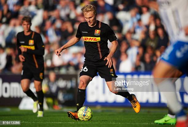 Victor Nelsson of FC Nordsjalland controls the ball during the Danish Alka Superliga match between OB Odense and FC Nordsjalland at EWII Park on July...
