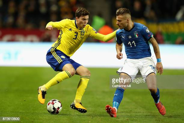 Victor Nilsson Lindelöf of Sweden and Ciro Immobile of Italy battle for possession during the FIFA 2018 World Cup Qualifier PlayOff First Leg between...