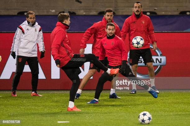 Victor Nilsson Lindeloef and Andrija Zivkovic of Benfica warm up during the training prior the UEFA Champions League Round of 16 second leg match...