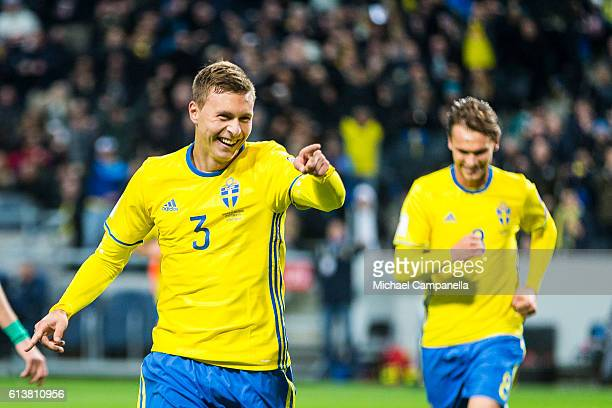 Victor Nilsson Lindelof of Sweden celebrates scoring the 30 goal during the 2018 FIFA World Cup Qualifier match between Sweden and Bulgaria at...