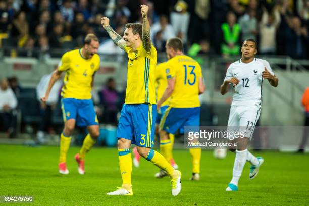 Victor Nilsson Lindelof of Sweden celebrates the 21 goal during the FIFA 2018 World Cup Qualifier between Sweden and France at Friends Arena on June...