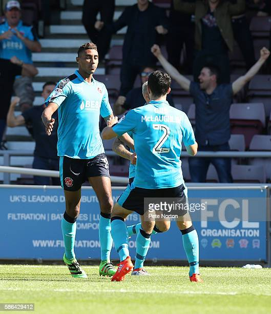 Victor Nirennold of Fleetwood Town celebrates after scoring his sides goal during the Sky Bet League One match between Northampton Town and Fleetwood...