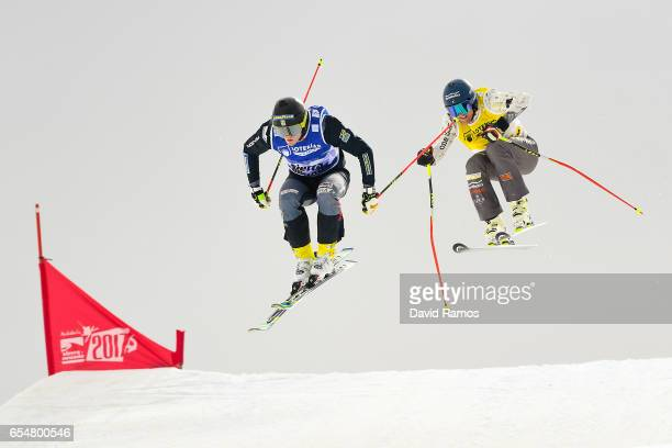 Victor Oehling Norberg of Sweden and Jamie Prebble of New Zealand compete in the Men's Ski Cross final on day eleven of the FIS Freestyle Ski...