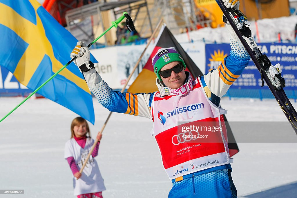 Victor Oehling Norberg of Sweden takes 1st place during the FIS Freestyle Skiing World Cup Ski Cross on February 07, 2015 in Arosa, Switzerland.