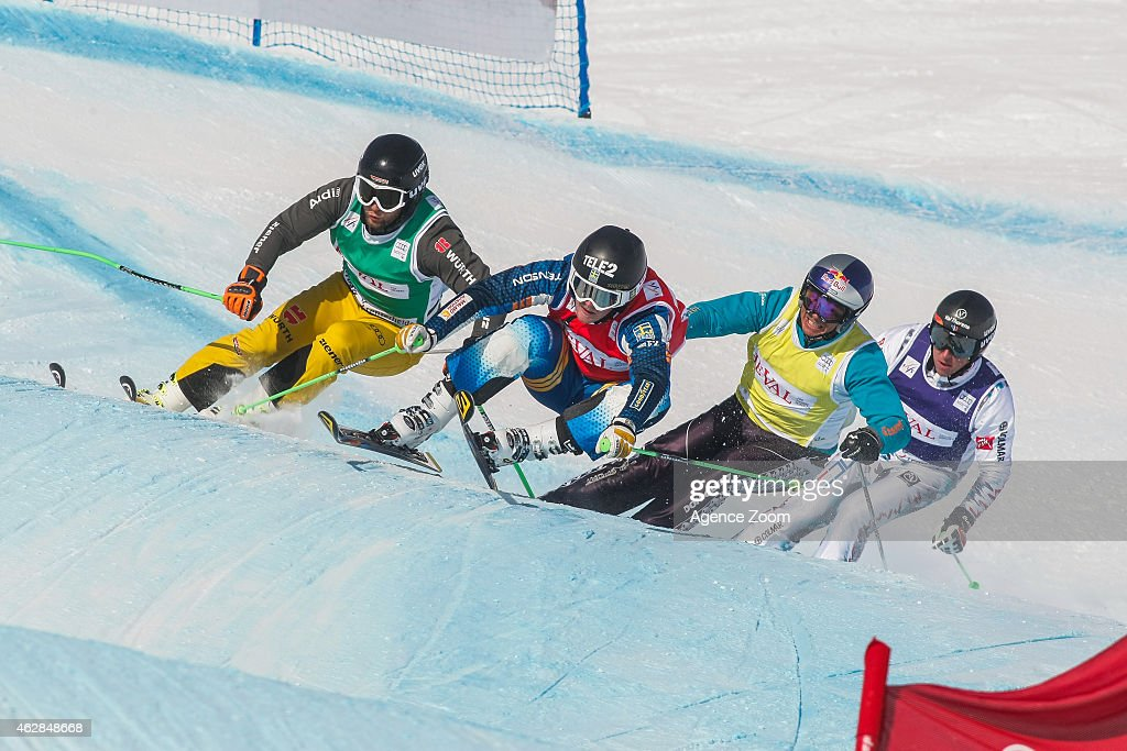 Victor Oehling Norberg of Sweden takes 1st place, Paul Eckert of Germany takes 7th place, Tomas Kraus of the Czech Republic takes 12th place, Jean-Frederic Chapuis of France takes 14th place during the FIS Freestyle Skiing World Cup Ski Cross on February 07, 2015 in Arosa, Switzerland.