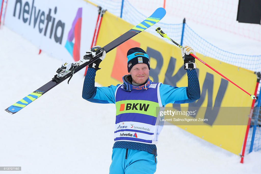 Victor Oehling Norberg of Sweden takes 2nd place during the FIS Freestyle Ski World Cup, Men's and Women's Ski Cross Final on March 04, 2016 in Arosa, Switzerland.