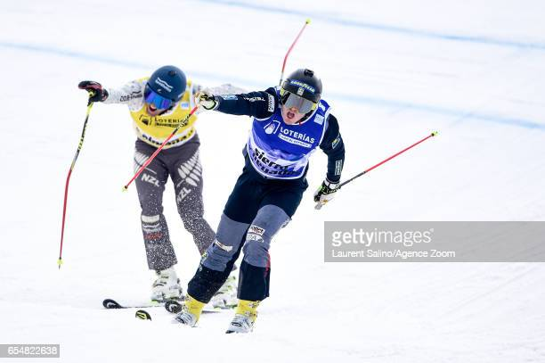 Victor Oehling Norberg of Sweden wins the gold medal Jamie Prebble of New Zealand wins the silver medal during the FIS Freestyle Ski Snowboard World...