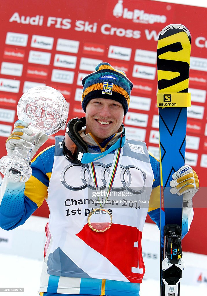 Victor Oehling Norberg of Sweden wins the Overall Ski Cross World Cup globe during the FIS Freestyle Ski World Cup Men's and Women's Ski Cross on March 23, 2014 in La Plagne, France.