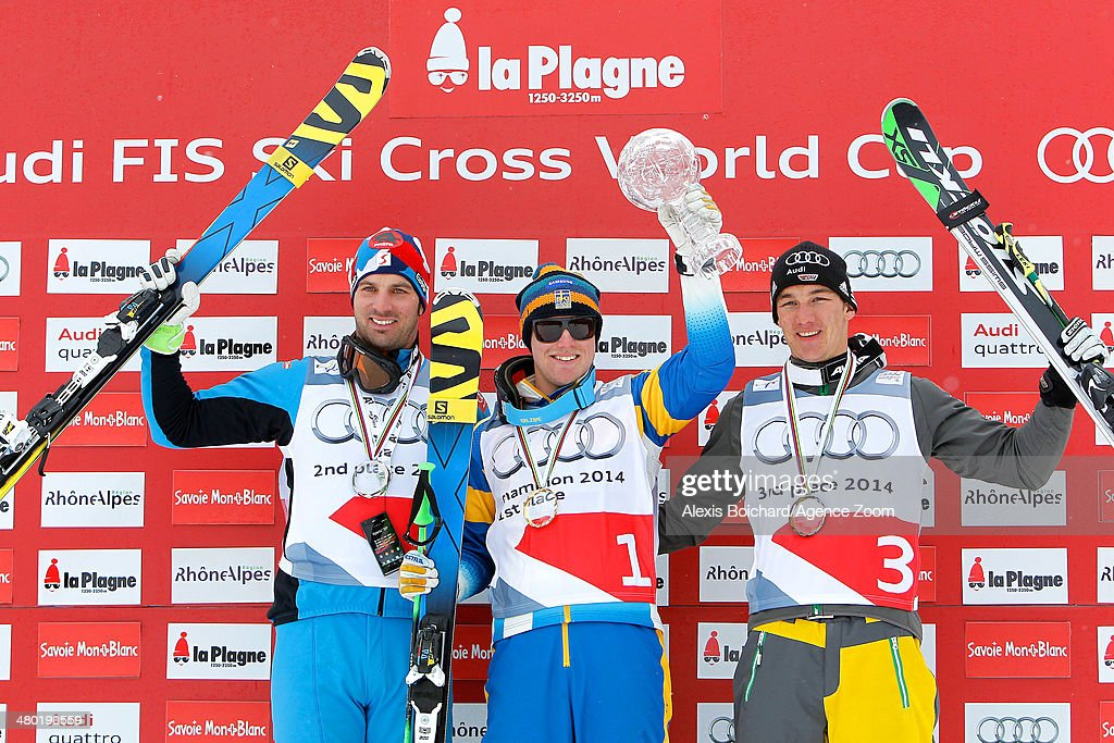 Victor Oehling Norberg (C) of Sweden wins the Overall Ski Cross World Cup globe, <a gi-track='captionPersonalityLinkClicked' href=/galleries/search?phrase=Andreas+Matt&family=editorial&specificpeople=4817189 ng-click='$event.stopPropagation()'>Andreas Matt</a> (L) of Austria takes 2nd place in the Overall Ski Cross World Cup, <a gi-track='captionPersonalityLinkClicked' href=/galleries/search?phrase=Daniel+Bohnacker&family=editorial&specificpeople=6848307 ng-click='$event.stopPropagation()'>Daniel Bohnacker</a> (R) of Germany takes 3rd place in the Overall Ski Cross World Cup during the FIS Freestyle Ski World Cup Men's and Women's Ski Cross on March 23, 2014 in La Plagne, France.