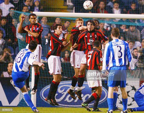 Victor of Deportivo strikes a free kick during the UEFA Champions League match between Deportivo La Coruna and AC Milan at the Estadio Municipal de...