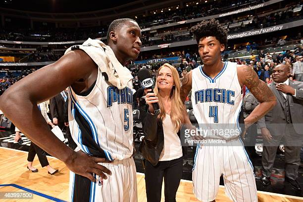 Victor Oladipo and Elfrid Payton of the Orlando Magic speak to the media after a game against the New Orleans Pelicans on February 20 2015 at Amway...