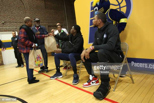 Victor Oladipo and Glenn Robinson III of the Indiana Pacers have teamed up to provide 200 families from Christamore House with Kroger groceries...