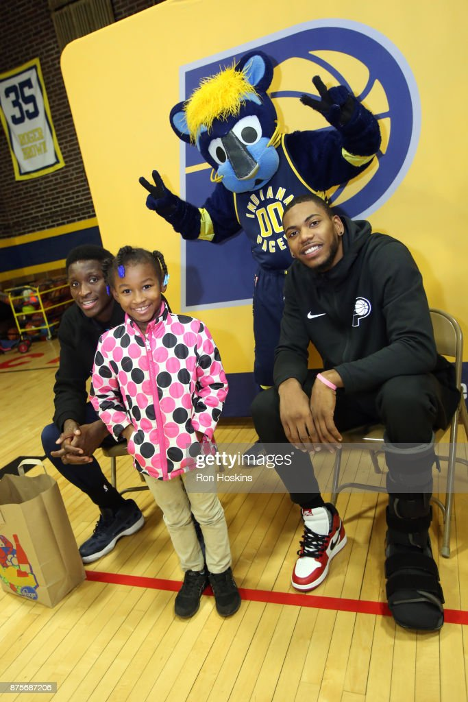 Victor Oladipo and Glenn Robinson III of the Indiana Pacers have teamed up to provide 200 families from Christamore House with Kroger groceries, complete with all the trimmings of a traditional Thanksgiving Dinner on November 16, 2017 in Indianapolis, Indiana.