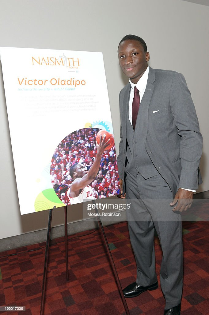 <a gi-track='captionPersonalityLinkClicked' href=/galleries/search?phrase=Victor+Oladipo&family=editorial&specificpeople=6681560 ng-click='$event.stopPropagation()'>Victor Oladipo</a> of the Indiana Hoosiers attends the NABC Guardians of the Game Awarding of the Naismith Trophy Presented by AT&T at Georgia World Congress Center on April 7, 2013 in Atlanta, Georgia.