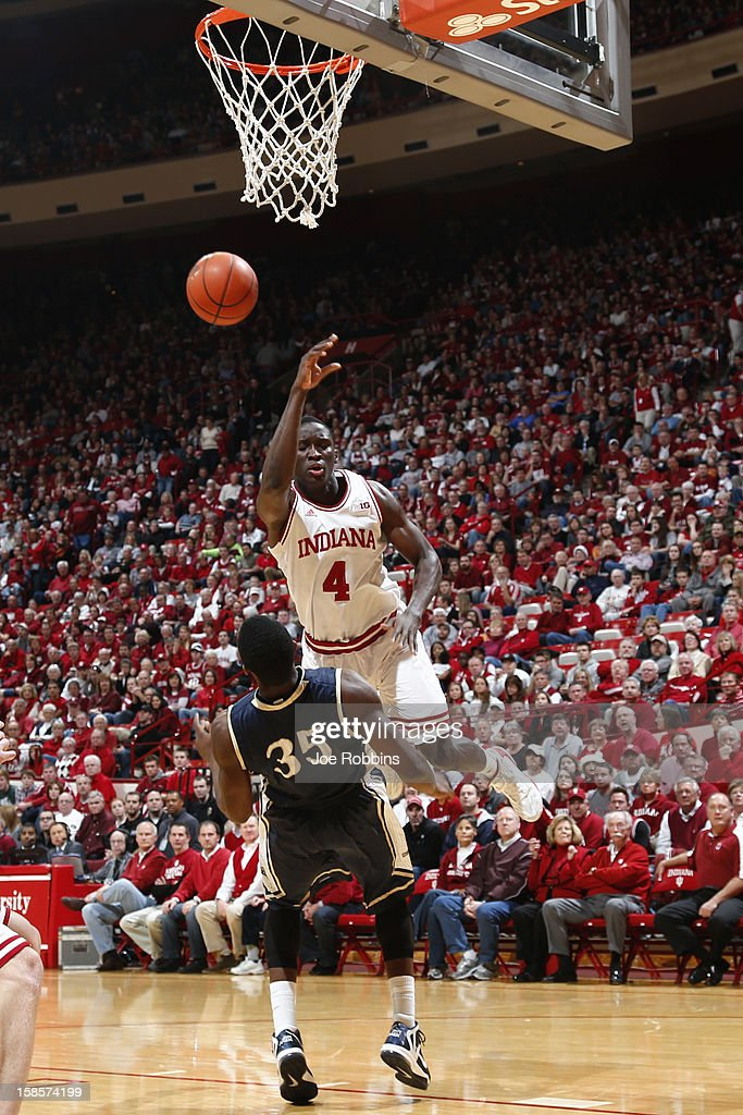 <a gi-track='captionPersonalityLinkClicked' href=/galleries/search?phrase=Victor+Oladipo&family=editorial&specificpeople=6681560 ng-click='$event.stopPropagation()'>Victor Oladipo</a> #4 of the Indiana Hoosiers charges into Raven Barber #35 of the Mount St. Mary's Mountaineers during the game at Assembly Hall on December 19, 2012 in Bloomington, Indiana.