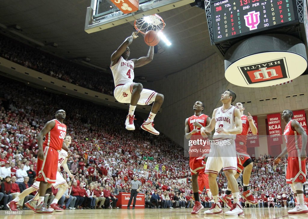 <a gi-track='captionPersonalityLinkClicked' href=/galleries/search?phrase=Victor+Oladipo&family=editorial&specificpeople=6681560 ng-click='$event.stopPropagation()'>Victor Oladipo</a> #4 of the Indiana Hoosiers dunks the ball during the game against the Ohio State Buckeyes at Assembly Hall on March 5, 2013 in Bloomington, Indiana.