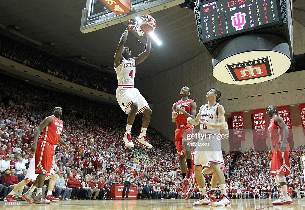 Victor Oladipo #4 of the Indiana Hoosiers dunks the ball during the game against the Ohio State Buckeyes at Assembly Hall on March 5, 2013 in Bloomington, Indiana.