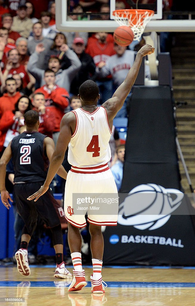 Victor Oladipo #4 of the Indiana Hoosiers holds his hand up in the air after making a three pointer late in the game against the Temple Owls during the third round of the 2013 NCAA Men's Basketball Tournament at UD Arena on March 24, 2013 in Dayton, Ohio.