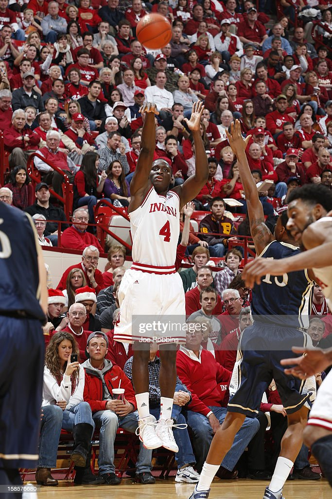 <a gi-track='captionPersonalityLinkClicked' href=/galleries/search?phrase=Victor+Oladipo&family=editorial&specificpeople=6681560 ng-click='$event.stopPropagation()'>Victor Oladipo</a> #4 of the Indiana Hoosiers shoots the ball against the Mount St. Mary's Mountaineers during the game at Assembly Hall on December 19, 2012 in Bloomington, Indiana. The Hoosiers won 93-54.
