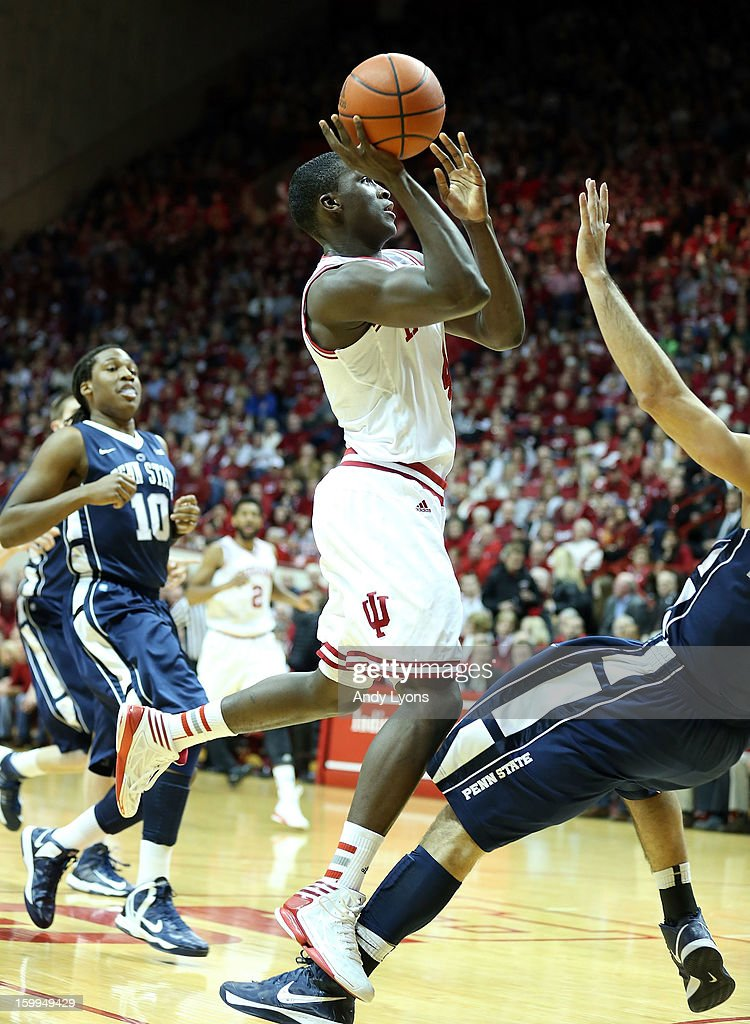 <a gi-track='captionPersonalityLinkClicked' href=/galleries/search?phrase=Victor+Oladipo&family=editorial&specificpeople=6681560 ng-click='$event.stopPropagation()'>Victor Oladipo</a> #4 of the Indiana Hoosiers shoots the ball during the game against the Penn State Nittany Lions at Assembly Hall on January 23, 2013 in Bloomington, Indiana.