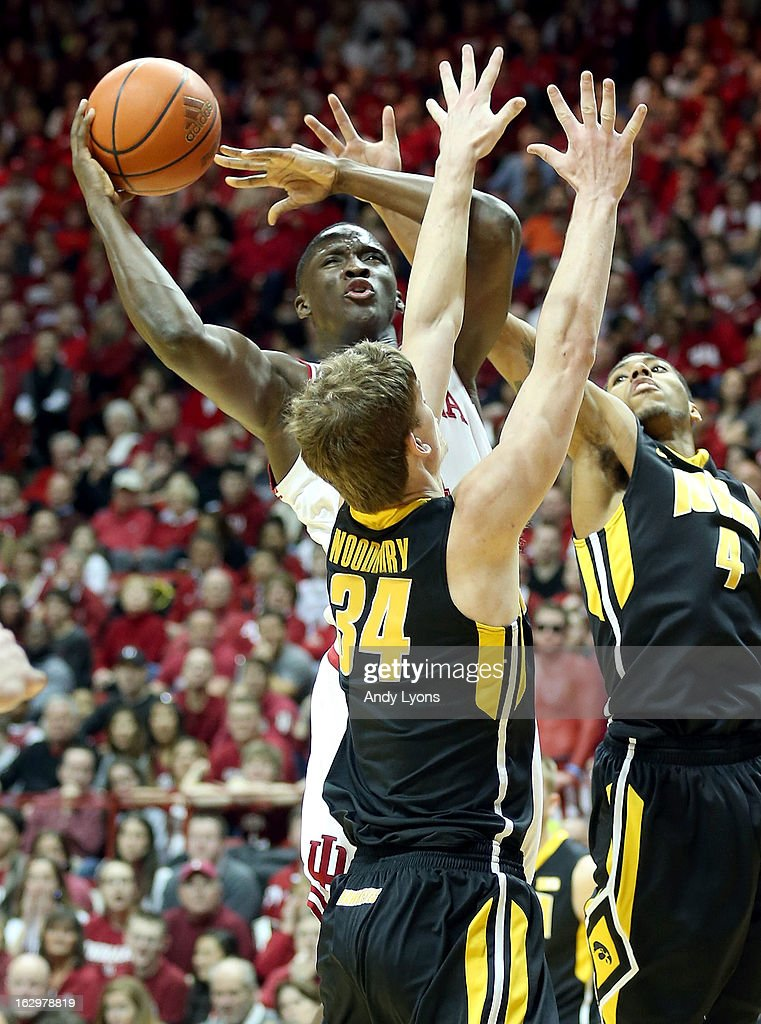 Victor Oladipo #4 of the Indiana Hoosiers shoots the ball during the game against the Iowa Hawkeyes at Assembly Hall on March 2, 2013 in Bloomington, Indiana.