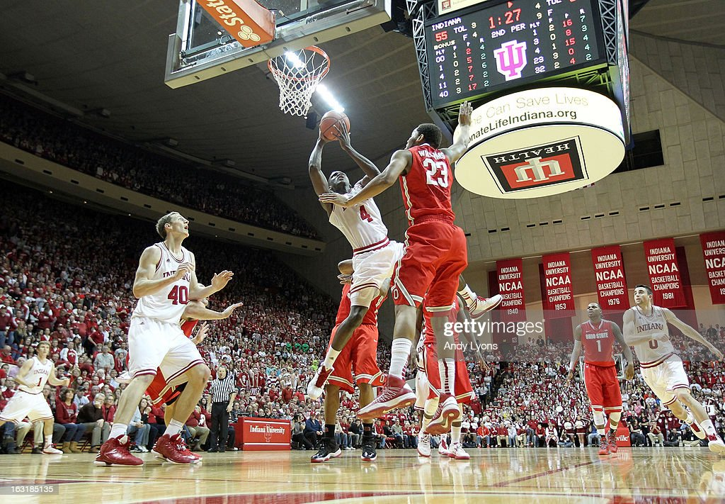 <a gi-track='captionPersonalityLinkClicked' href=/galleries/search?phrase=Victor+Oladipo&family=editorial&specificpeople=6681560 ng-click='$event.stopPropagation()'>Victor Oladipo</a> #4 of the Indiana Hoosiers shoots the ball during the game against the Ohio State Buckeyes at Assembly Hall on March 5, 2013 in Bloomington, Indiana.