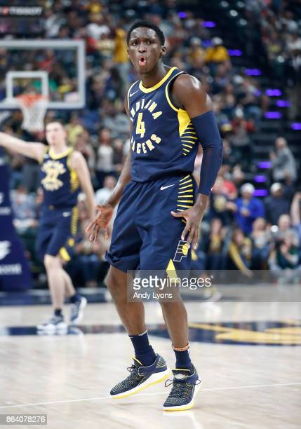 Victor Oladipo of the Indiana Pacers celebrates after making a basket against the Portland Trailblazers at Bankers Life Fieldhouse on October 20 2017...