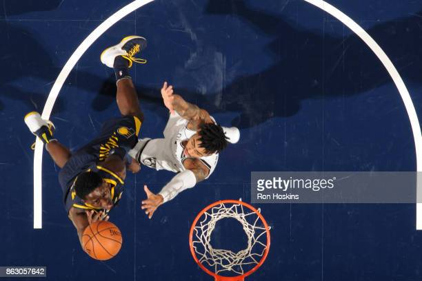 Victor Oladipo of the Indiana Pacers drives to the basket against D'Angelo Russell of the Brooklyn Nets on October 18 2017 at Bankers Life Fieldhouse...