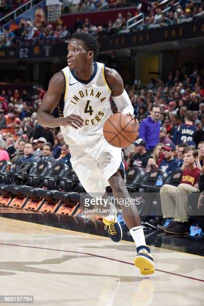 Victor Oladipo of the Indiana Pacers handles the ball against the Cleveland Cavaliers on November 1 2017 at Quicken Loans Arena in Cleveland Ohio...