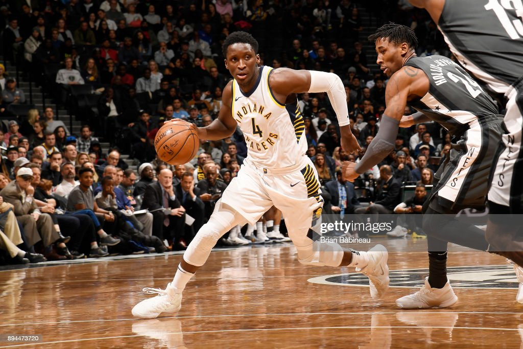 Victor Oladipo #4 of the Indiana Pacers handles the ball against the Brooklyn Nets on December 17, 2017 at Barclays Center in Brooklyn, New York.