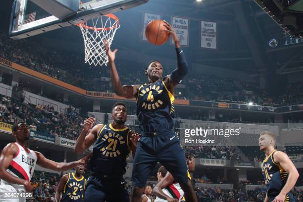 Victor Oladipo of the Indiana Pacers handles the ball during the game against the Portland Trail Blazers on October 20 2017 at Bankers Life...