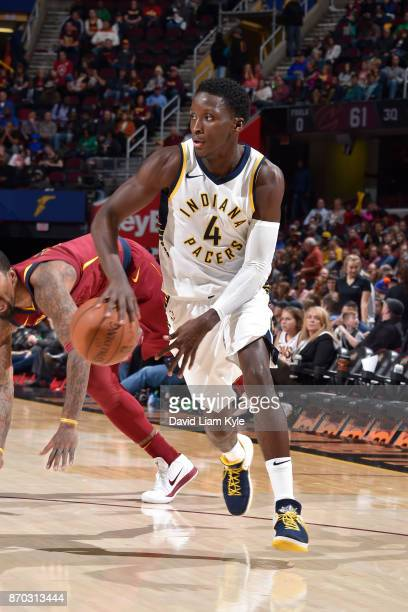 Victor Oladipo of the Indiana Pacers handles the ball during the game against the Cleveland Cavaliers on November 1 2017 at Quicken Loans Arena in...