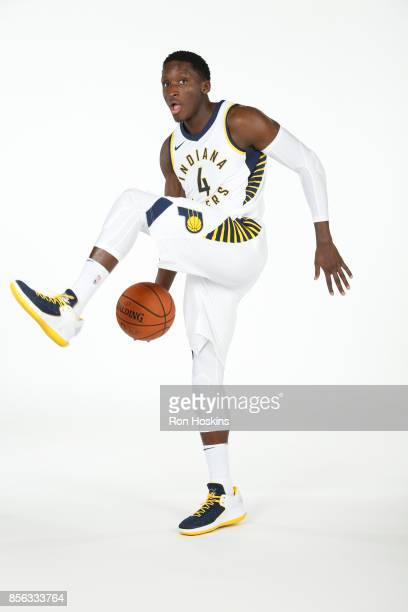 Victor Oladipo of the Indiana Pacers poses for a portrait during the Pacers Media Day at Bankers Life Fieldhouse on September 25 2017 in Indianapolis...