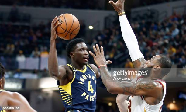 Victor Oladipo of the Indiana Pacers shoots the ball against the Cleveland Cavaliers at Bankers Life Fieldhouse on December 8 2017 in Indianapolis...