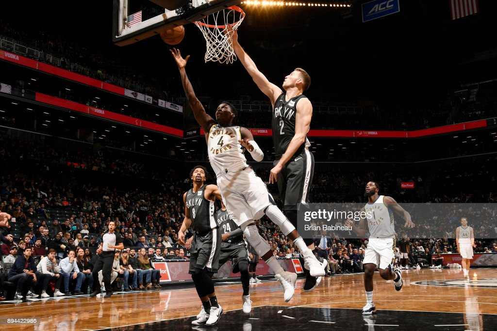 Victor Oladipo #4 of the Indiana Pacers shoots the ball against the Brooklyn Nets on December 17, 2017 at Barclays Center in Brooklyn, New York.