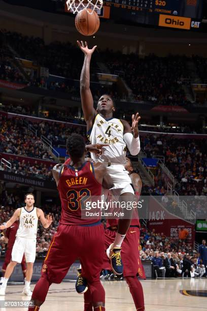 Victor Oladipo of the Indiana Pacers shoots the ball during the game against the Cleveland Cavaliers on November 1 2017 at Quicken Loans Arena in...