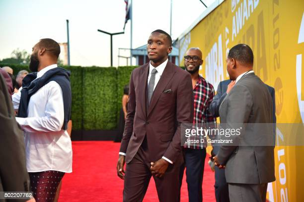 Victor Oladipo of the Oklahoma City Thunder arrives on the red carpet during the 2017 NBA Awards Show on June 26 2017 at Basketball City in New York...